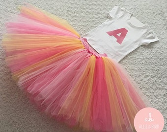Girls Tutu Skirt and T-shirt Set. Birthday Outfit, Photo Prop, Party Dress. Personalised with your choice of initial.