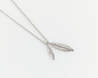 Feather Necklace - Short Necklace - Double Feather Necklace