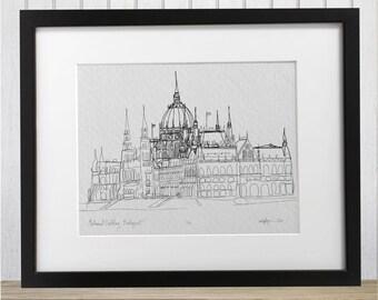 Budapest Parliament Building doodle print