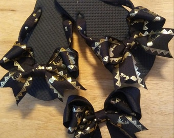 Gold and Black Deer printed Flip flops and Matching Hair Bow