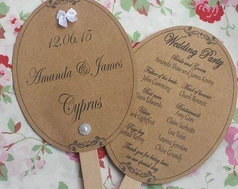 Personalised Oval Wedding fans x10--cream, white, brown kraft any colour