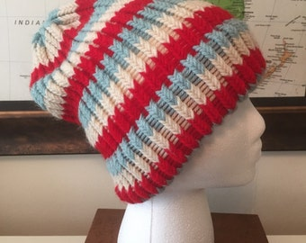 Red, White and Blue Loom Knit Adult Hat