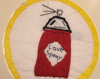 Love Spray pop art iron on patch