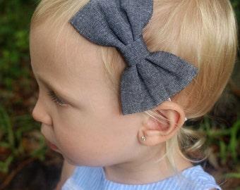 denim bow headband baby/toddler/girls