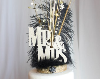 Gatsby Wedding Cake Topper Mr. & Mrs. black and gold feather, overthetopcaketopper