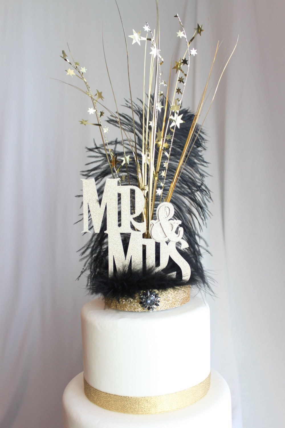 black and gold wedding cake toppers gatsby wedding cake topper mr amp mrs black and gold feather 11816