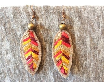 MULTICOLOR LEAF EARRINGS, Textile Jewerly