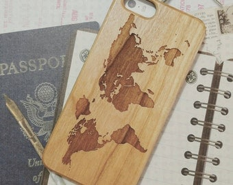 Laser Engraved Geographic World Map on  Genuine Wood Cell phone Case for Apple iPhone  IP-062
