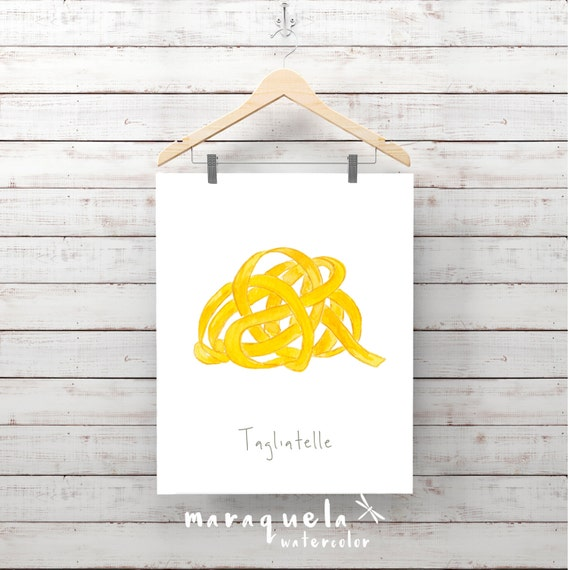 PASTA illustration III , TAGLIETALLE Italian food decor pasta, Wall Art food, Culinary art, Kitchen decor, Italian food, poster, Wall print