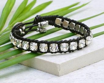 Swarovski Crystal Wrap Bracelet Swarovski Bracelet Leather Wrap Bracelets for Women Crystal Bracelet Boho Leather Wrap Bracelet