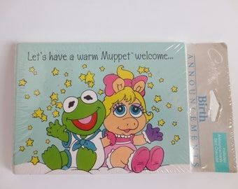 Vintage Muppet Babies Stationery,  Birth Announcement Cards and Envelopes, 1980s Stationery, Miss Piggy Kermit, Jim Henson,New Old Stock