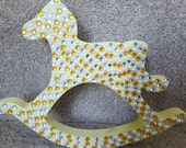 Free standing Yellow Rocking Horse with Gems Nursery baby