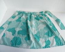 Mid century modern print half apron / pinny, retro, aqua / mint green 50's, 60's, 70's - small