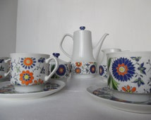 Mid century tea set, Retro / mod coffee pot set, Polish Chodziez, six cup