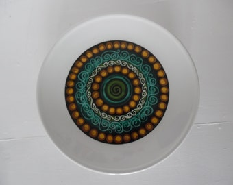 Dinner plates, Mid century, folk - John Russell Iona pattern by Hostess Staffordshire - Five