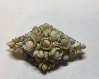 Vintage Handmade Sea Shell Art Brooch Pin Jewelry Maritime Folk Art