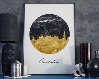 Amsterdam skyline, Amsterdam print, Amsterdam art, Netherlands art, Netherlands print, marble print, gold art, Black and gold, office art