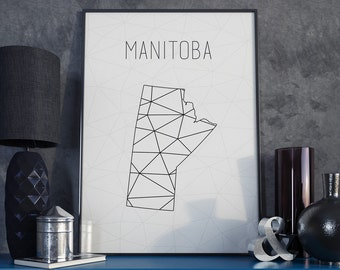 Canada Manitoba art Manitoba map Manitoba print Canada map Canada  art Geometric art Scandinavian style  Minimalist art gift for christmas