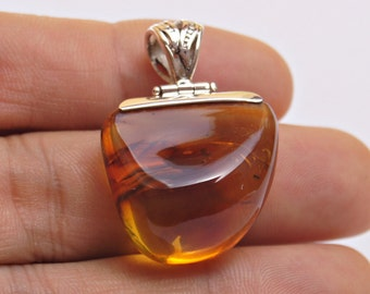 Amber Pendant, Original And Genuine Dominican Free Shape Yellow Amber .925, Sterling Silver Reversible Pendant Jewelry