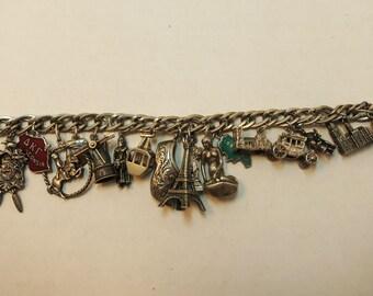 antique sterling charm bracelet