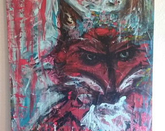Flower Fox Painting, Free Shipping!