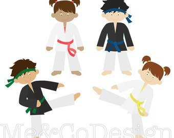 Karate Kids Clipart, Cute Clipart, Boy and Girl, Martial Arts Fun Instant Download, Personal and Commercial Use Clipart, Digital Clip Art
