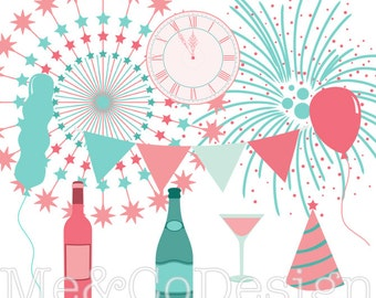 New Year's Eve Clipart, Fireworks, Instant Download, Personal and Commercial Use Clipart, Digital Clip Art