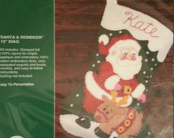Gallery of Stitches Santa & Reindeer stocking kit