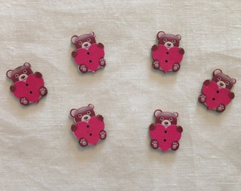 Set of 10 wooden buttons form Teddy bear with heart