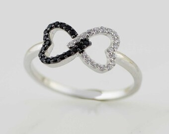 Sterling Silver Double Heart Ring, Silver Double Heart Cz Ring, Black and White  Interwined Heart Silver Ring, Silver Rhodium Black & White