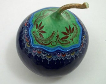 Handmade Oaxacan Blue Painted Gourd Trinket Box