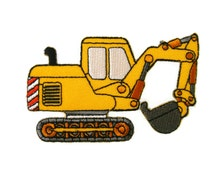 Yellow Excavator Backhoe Digger Tractor Embroidered Applique Iron on Patch