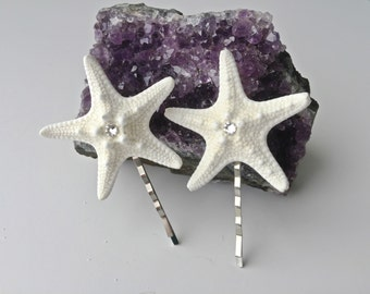 Starfish Hair Clips with Swarovski Crystals, Beach Wedding, Beach Hair Accessories