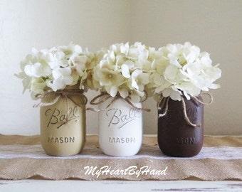 Rustic Home Decor - Painted Mason Jars, Farmhouse Decor, Mason Jar Decor, Baby Shower Decorations, Mason Jar Centerpieces, Wedding Decor