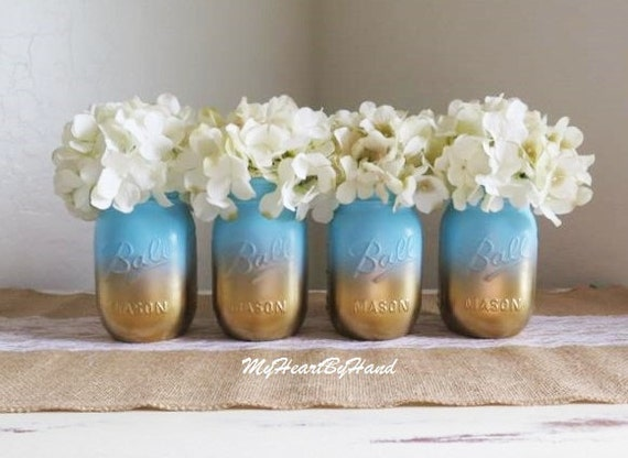 baby shower mason jar set ombre mason jars baby blue and gold