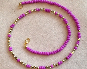 Purple Necklace, Gold Necklace, Purple and Gold, Gold Cube Beads, Seed Beads, Beaded Necklace, Handmade, Wrap Bracelet, Purple Bracelet