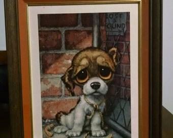 """Large Vintage Framed 13"""" x 17"""" Sad Eyed Puppy Print"""