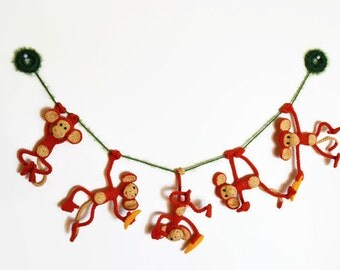 Crochet garland Funny monkeys with bananas/ Symbol  of the Year / Crochet monkey