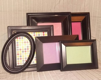 Distressed Black Frames/Black Picture Frame Collection/Gallery Wall Set/Shabby Chic Frames