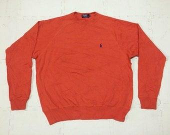 Vintage 90s Polo RALPH LAUREN Small Pony Sweatshirt Orange Medium Size