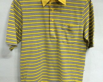 Vintage NOS 70s PGA Stripes Polo Shirt Yellow Cotton Polyester 70/30 Large Size