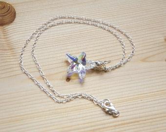 Starfish swarovski pendant crewneck necklace, sterling silver chain
