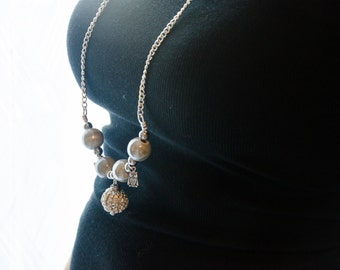 Strass ball long necklace