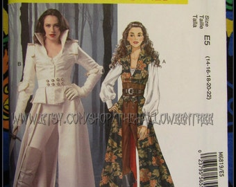 M6819 Coat, Top, Corset and Belt time traveller women's costume sewing pattern Sizes M-L