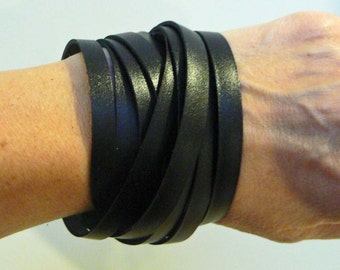 Black Leather Double Wrap Cuff Bracelet
