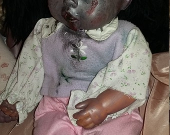 Up cycled baby doll zombie baby undead walker Christmas ooak doll