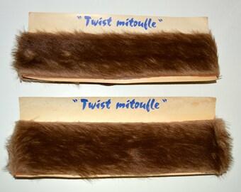 HEADBAND, headband, toupee fur, twist mittens, made in FRANCE, 1970