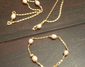 Necklace + Bracelet m real pearls 18ct plated