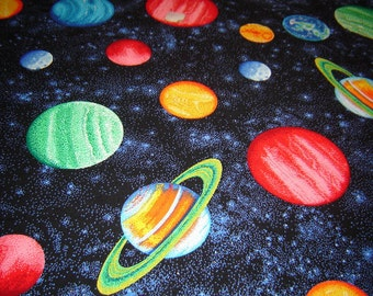 "1 Yard 31"" Solar System, planets Fabric Remnant/End of Bolt 889"