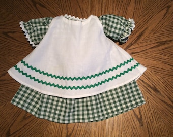 Vintage Green Checkered Doll Dress with Apron, 18  Inch Doll